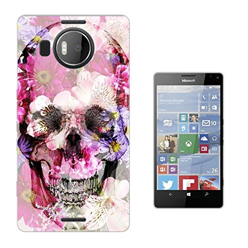 002932 - Shabby Chic Floral Roses flowers Floral Rosess Shadow Skull Design Microsoft Nokia Lumia 950 XL Fashion Trend Silikon Hülle Schutzhülle Schutzcase Gel Rubber Silicone Hülle