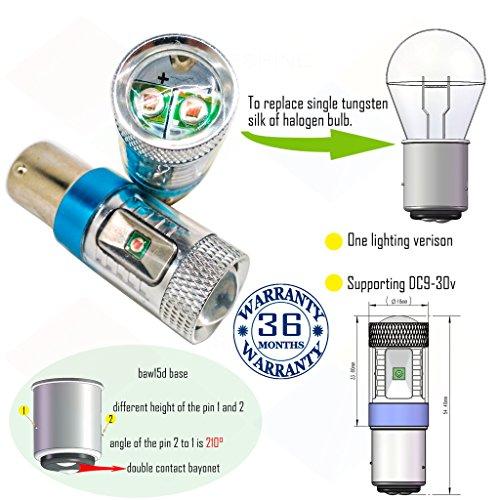 Preisvergleich Produktbild Wiseshine 3000k baw15d led birne lampen DC9-30v 3 Jahre Qualitätssicherung (2 Stück) baw15d 6 led HP warmweiß