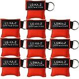 10 Stück CPR Maske Schlüsselanhänger Ring Notfall Kit Rescue Face Schilde mit Rückschlagventil Atmen Barriere für Erste Hilfe oder AED Training, leicht zu transportieren