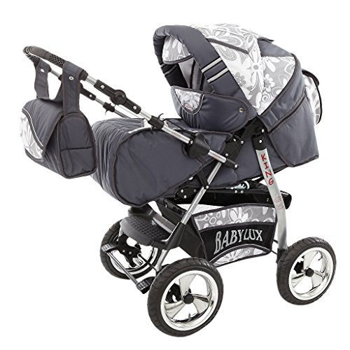 Kinderwagen King + Autositz GT-Silver Flowerpower 3in1 Set +Winterfußsack Fleece 3in1+Sonnenschirm