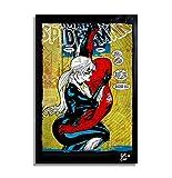Arthole.it Spiderman e Gatta Nera, Marvel Comics - Quadro Pop-Art Originale con Cornice, Dipinto, Stampa su Tela, Poster, Locandina
