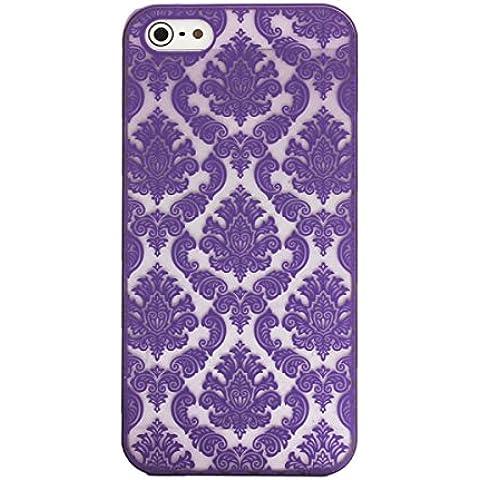 Tongshi Para el iPhone 5 5s Tallado del damasco de la vendimia Mate cubierta del estuche rígido (Morado)