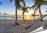 PMP-4life XXL Poster Strand Hängematte vor Sonnenuntergang am Meer HD 140cm x 100cm Hochauflösende Wanddekoration Natur Bild für Wandgestaltung Wandbild | Fotoposter Karibik Sonne Sommer Palmen |