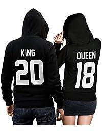 King Queen Pullover Pärchen Set in schwarz - Mit individueller Wunschnummer - 2 Hoodies für Paare Couple-Hoody Geschenk