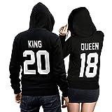 King Queen + Wunschnummer Set 2 Hoodies Pullover Pulli Liebe Love Pärchen Couple Schwarz (King Gr. M + Queen Gr. S)