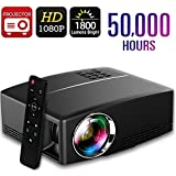 Projector 1800 Lumens 180' Contrast Rate 2200:1,IBACAKYS LED Mini Home Video Projector for Home Outdoor Theater, Double USB HDMI VGA Support Laptops Tablets Smartphones Projection