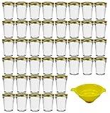 Viva Haushaltswaren - 42 x kleines Becherglas / Marmeladenglas 80 ml mit goldfarbenem Deckel, Vorratsdosen Set als Einmachgläser, Gewürzgläser, für Kuchen im Glas etc. verwendbar (inkl. Trichter)