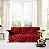 Lusso di divano | antiscivolo | impermeabile | Lavabile per tutte le stagioni copridivano. 1/2/3posti Protector, Burgundy, (Three Seater ( 280 x 179 CM )