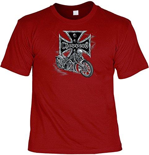 Shirt - Biker-Look - T-Shirt Herren lässiger Druck: Bikers Cross - Choppers - tolles Motorrad-Motiv Dunkelrot