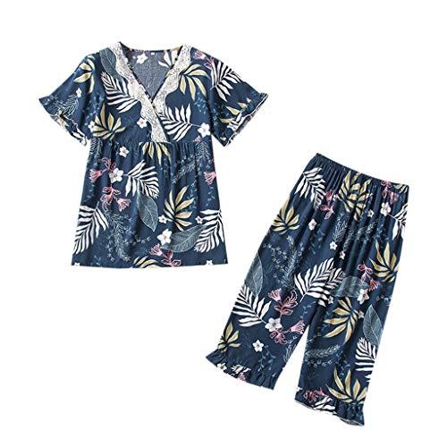 Damen Homewear Loose Comfort Fashion Druckmuster Schlafanzug V-Ausschnitt Kurzarm Shorts 2PC Set (Schlafanzug Anzug Vollen)