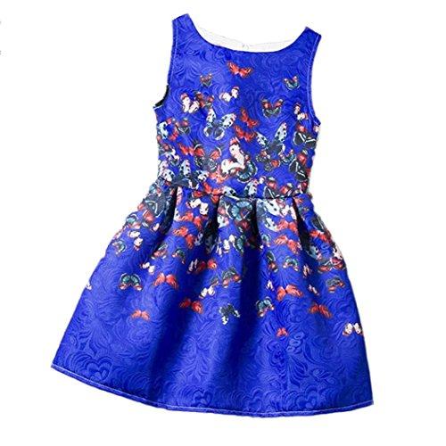 Kleid, Dasongff Mädchen Ärmelloses Vintage Printed Schmetterling Kleider Prinzessin Party Pageant Kleider Kinder Kleidung (130, Blau) (Passende Baby-und Kleinkind-halloween-kostüme)