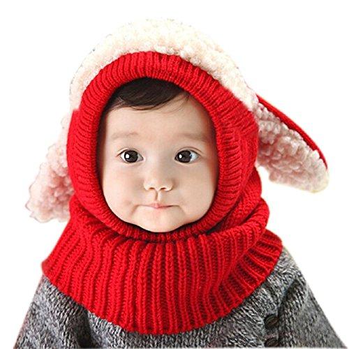 Minetom Bambino Delle Ragazze dei Capretti dei Ragazzi Carina Inverno di Lana Caldo Coif Hood Sciarpa Ricopre i Cappelli ( Rosso 1 )