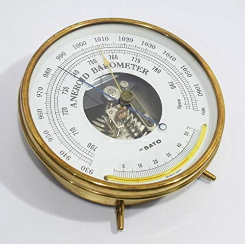 SkSATO barómetro aneroide con termómetro de cristal, vintage, fabricado en Japón