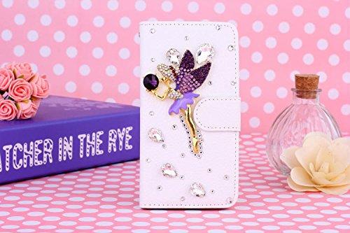 Coque iPhone 5C , iNenk® Sac à main Case w/carte ID titulaire blanc luxe 3D la main paillettes Bling diamant perle Crystal portefeuille pochette carte-Danse Fille Angel violette