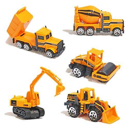 TH Toys Mini Legierung Bagger Lastwagen Autos 5er Set Fahrzeugset,Kleinkind Baustelle Spielzeug ab 3 Jahren (5 Pcs Set)
