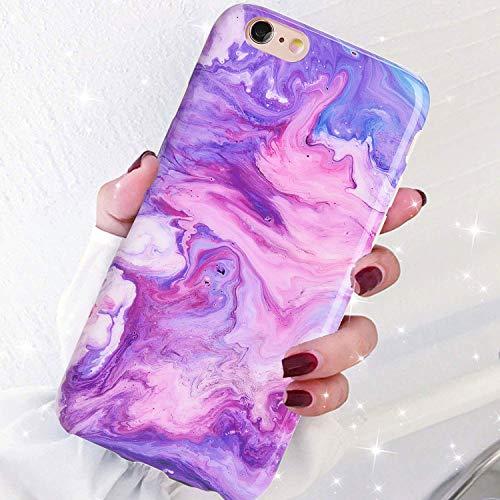 DICHEER iPhone 6 Hülle, iPhone 6S Hülle, niedlich für Frauen Mädchen, schmale Passform, dünne transparente Stoßstange, glänzende TPU-Silikonhülle für iPhone 6/iPhone 6S, 4.7'', Magic Purple Marble - 4 Iphone Frauen Niedlich Für Fall