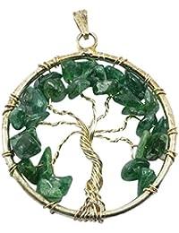 Green Aventurine Tree Of Life Crystal Pendant Healing Gemstone For Unisex