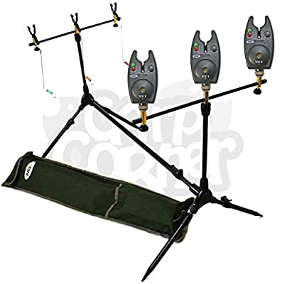 NGT Carp Fishing Rod Pod 3x Black Bite Alarms With Volume Control 3x Indicator Swingers & Rests from NGT