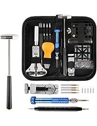 Yissvic Uhrenwerkzeug Set 183-teilig Uhren Reparatur Set Profi Uhrmacherwerkzeug Uhr Reparatur Werkzeug mit Nylontasche (Verpackung MEHRWEG)