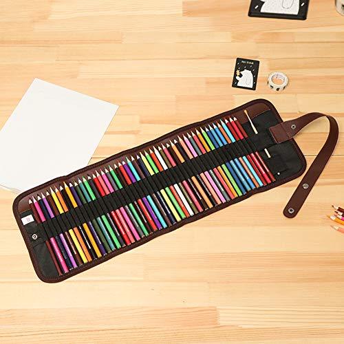 obiqngwi 48pcs Trousse à crayons, art crayons dessin étudiant dessin toile sac pochette rouleau sac ensemble Sac à crayons