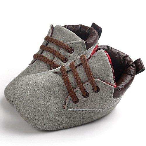 Chaussures de bébé,Transer ®Chaussures bébé nourrisson garçon fille Toddler unique en cuir souple anti-dérapant Gris