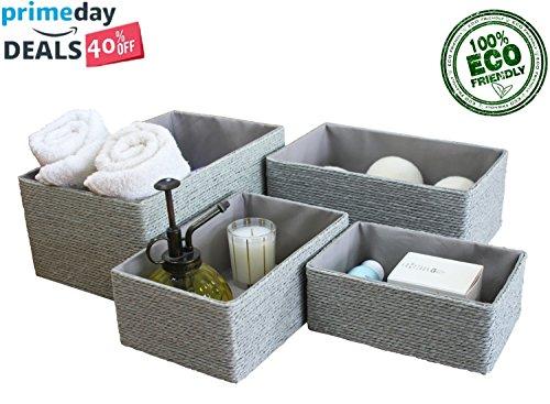 Set di 4 cesti organizzatori per armadi e cassetti grigio contenitori a cubo impilabili per la casa e l'ufficio contenitore cosmetico scrivania storage baskets