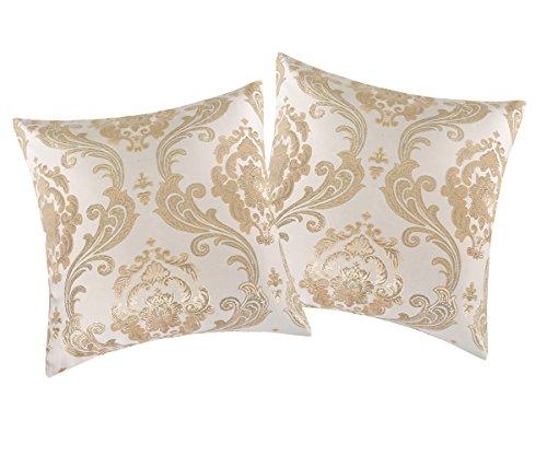 Invachi shinny seta federa argento tessuto jacquard cuscino quadrato cuscino coperture per decorazione casa festa di nozze, gold*2p, 20
