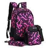 Backpack 3 Set Sac à Dos Enfant en Nylon Cartable Scolaire Fille Garcon Unisexe...