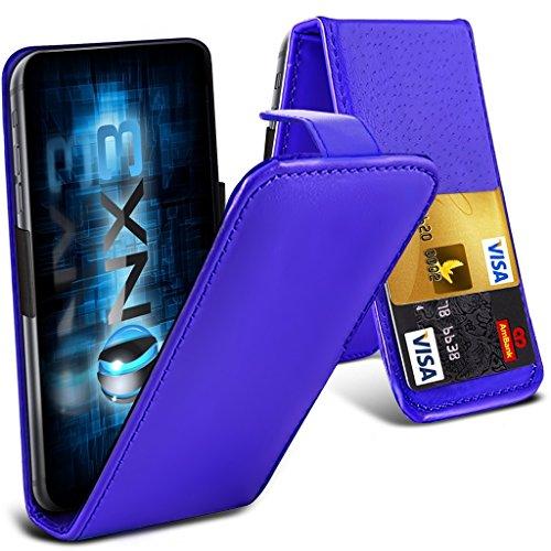 ONX3® (Blue) HTC Desire 700 Fall Universal-Luxuxart Folding PU-Leder Federklemmhalter Top-Schlag- Fall mit 2-Karten-Slot, nach oben und unten Kamera - 700 Desire Handy-fall, Htc
