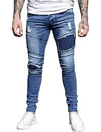 Eto Jeans Mens Designer Super Skinny Stretch Distress Rip Biker Style Slim Denim