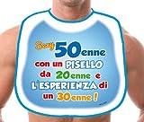 Dream' s Party La BAVAGLIA bavaglione del 50 ENNE - Idea Gadget Scherzo per la Festa di Compleanno dei 50 Anni - Sexy 50enne con Un PISELLO da 20enne e l'esperienza di Un 30enne!