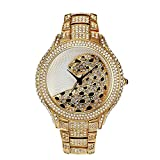 Sheli Damen Groß Besondere Leopard Feature Zifferblatt Bling Vergoldet Kristall Metalluhr, 45mm