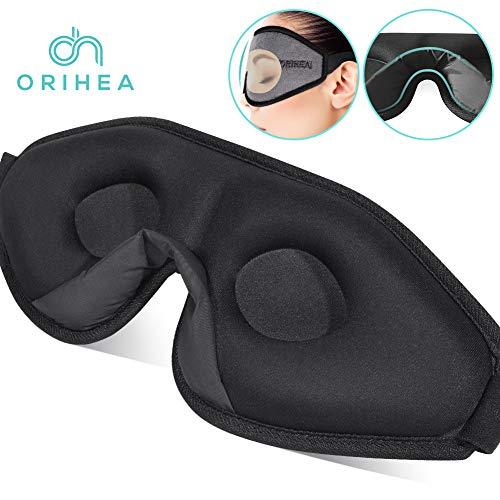 OriHea 3D Schlafmaske Damen und Herren,Premium Schlafbrille mit Innovativem verstecktem Nasenflügel-Design, Blockiert Licht 100{f0b9fd07fccae1037bfc25c5089ddc457aa54a13a4ed87847a9dd0ff02276cb5} Augenmaske, verstellbare Premium Seiden Schaum Augenbinde