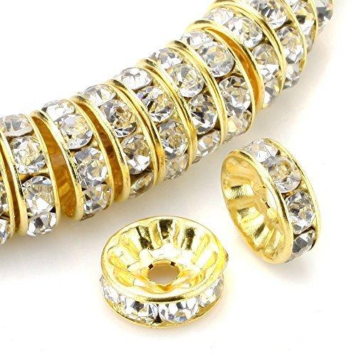rubyca 100Premium Qualität Tschechische Kristall Strass Gold Ton rund und gewellt Rondelle Spacer - Art Clay Copper Clay