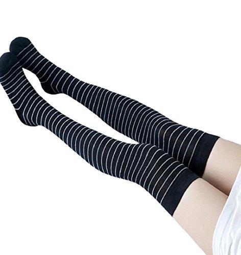 Streifen Overknee Strümpfe,ZEZKT Damen Kniestrümpfe mit Streifen Mädchen Schüler Knitting Stripes Sportsocken Druckfreies Elastisches (Outfits Die Für Kinder Cheerleader)