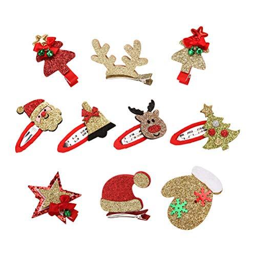 Lurrose 10pcs Weihnachten Hair Snap Clips Glitter Haarspangen für Mädchen (zufällige Muster) Glitter Stars-snap