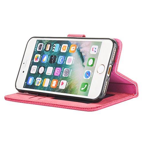 Mo-Beauty® Hülle For Apple iPhone 6 Plus/6S Plus [5,5 Zoll],iPhone 6 Plus/6S Plus Lederhülle Brieftasche Handy Hülle Case [Denim-Serie-Mappen-Kasten] Leder Hülle Premium Handy Gürtel Tasche Schutzhüll Rot