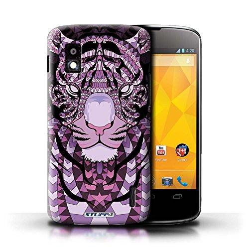 Kobalt® Imprimé Etui / Coque pour LG Nexus 4/E960 / Loup-Cramoisi conception / Série Motif Animaux Aztec Tigre-Pourpre