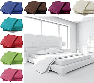 Plain Dyed Elastic Fitted Sheet - Polycotton Percale - Single Double King Size - low-cost UK bedding shop.