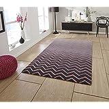 Espectro confeccionadas a mano zigzag alfombra gris digicentury fondo 100% alfombra de lana (varios colores y tamaños), rosa, 150 x 230 cm