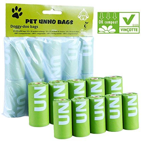 Malayas® Hundekotbeutel Hunde Gassibeutel Haustiere Kot Tüte Umweltfreundliche 100% Biologisch Abbaubar kotbeutel 10 Rollen 100 Poop Taschen Grün
