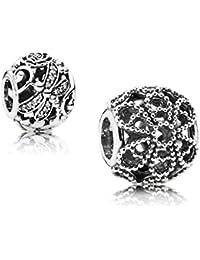Original Pandora Geschenkset - 1 Silber Charm Rosen 791282 und 1 Silber Charm Funkelnde Libellen 791733CZ