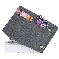 غطاء ماكينة خياطة قماش مبطن فاخر من إيفريثينج ماري - رمادي هيذر - يغطي المغني، الأخ ومعظم الآلات القياسية - حقيبة واقية من الغبار مع جيوب تخزين للإبر والملحقات