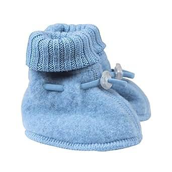 Double Layer Merino Wool Fleece Baby Booties Cream 60