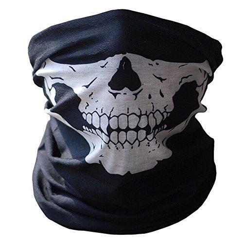 La mitad de la cara máscara de calavera esqueleto Multi uso Bandana negro ciclista BMX bicicleta Deporte al aire libre Paintball motocicleta soldado