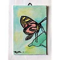 Butterfly-Painted with watercolor Hand made of inch 3,9x5,9X0.1 inch.Ready to be attached to the wall.Made in Italy, Tuscany, Lucca. Created by Davide Pacini.