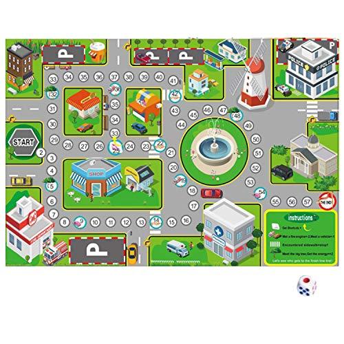 Migavan 75x52 cm Stadt Der Verkehr Straße Kart Abspielen Spielen Spiel Mat Interactive Pädagogisches Spielzeug mit Würfeln für Kinder Kinder Geburtstag