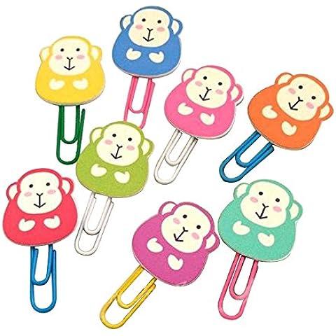 Leisial 80pcs Regalos Creativos Clips de Papel Multicolor Marcadores-Mono Cute