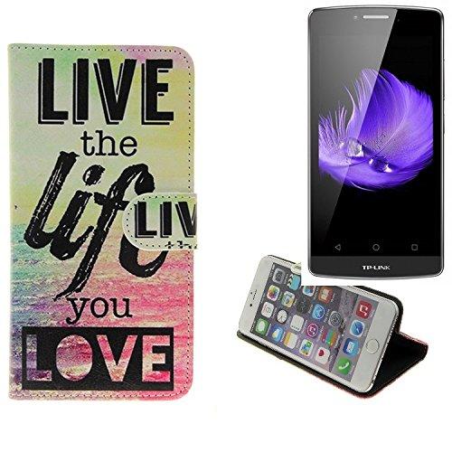 K-S-Trade Für TP-LINK Neffos C5L 360° Wallet Case Schutz Hülle ''live The Life You Love'' Schutzhülle Handy Hülle Handyhülle Handy Tasche Etui Smartphone Flip Cover Flipstyle für TP-LINK Neffos C5L