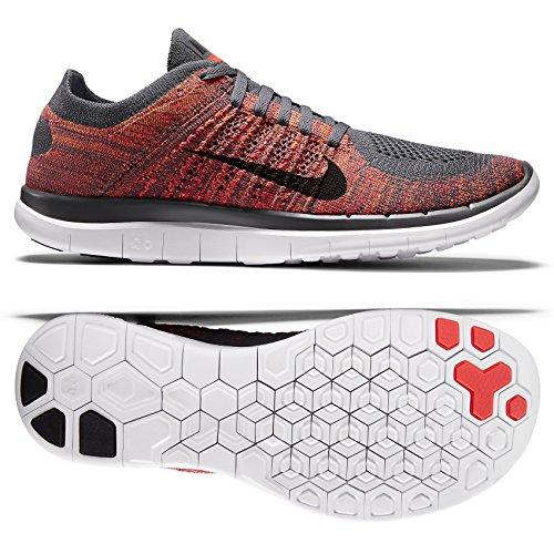 Nike Free 4.0 Flyknit 631053 Herren Laufschuhe, - Dark Grey/Black/Bright Crimson/Total Orange...